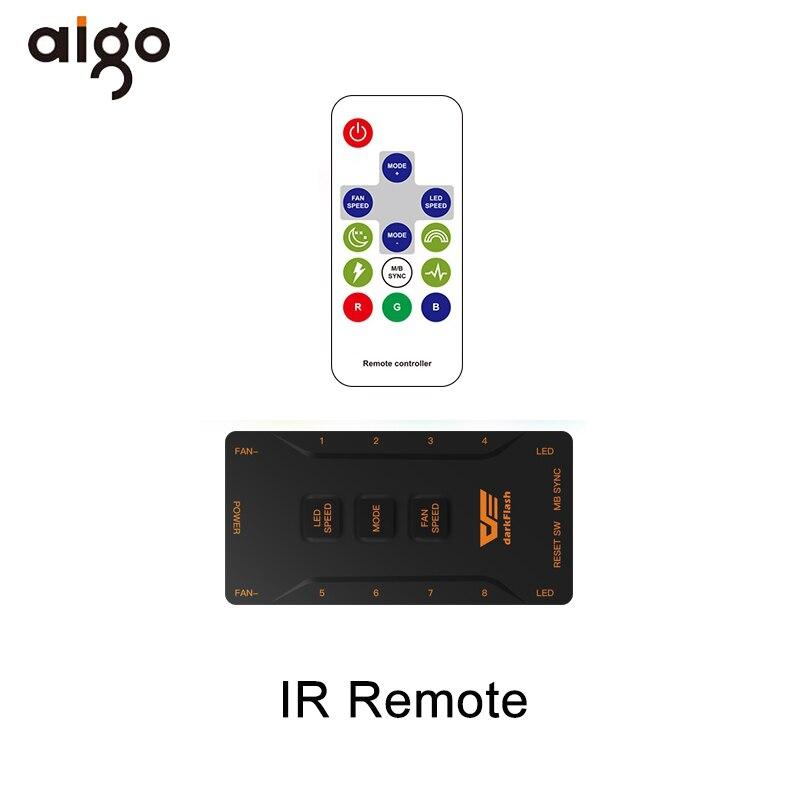 Aigo DR12 Pro Чехол для компьютера ПК Вентилятор RGB регулируемый светодиодный вентилятор Скорость вращения 120 мм тихий пульт AURA синхронизирующий компьютер охлаждающий RGB чехол вентиляторы - Цвет лезвия: IR Remote