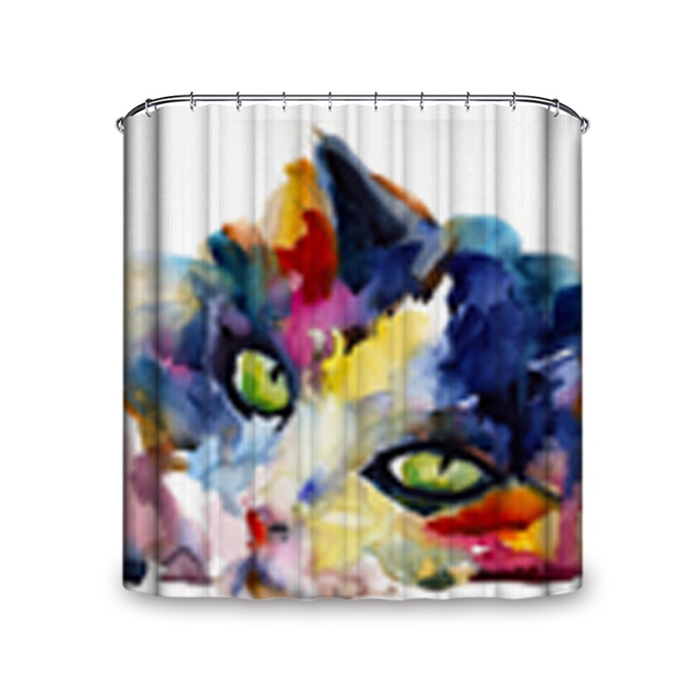 Mysterious Vision Cute Cat Various Size and Hooks Shower Curtain Unique Machine Washable Single Side Printing Waterproof Fabric
