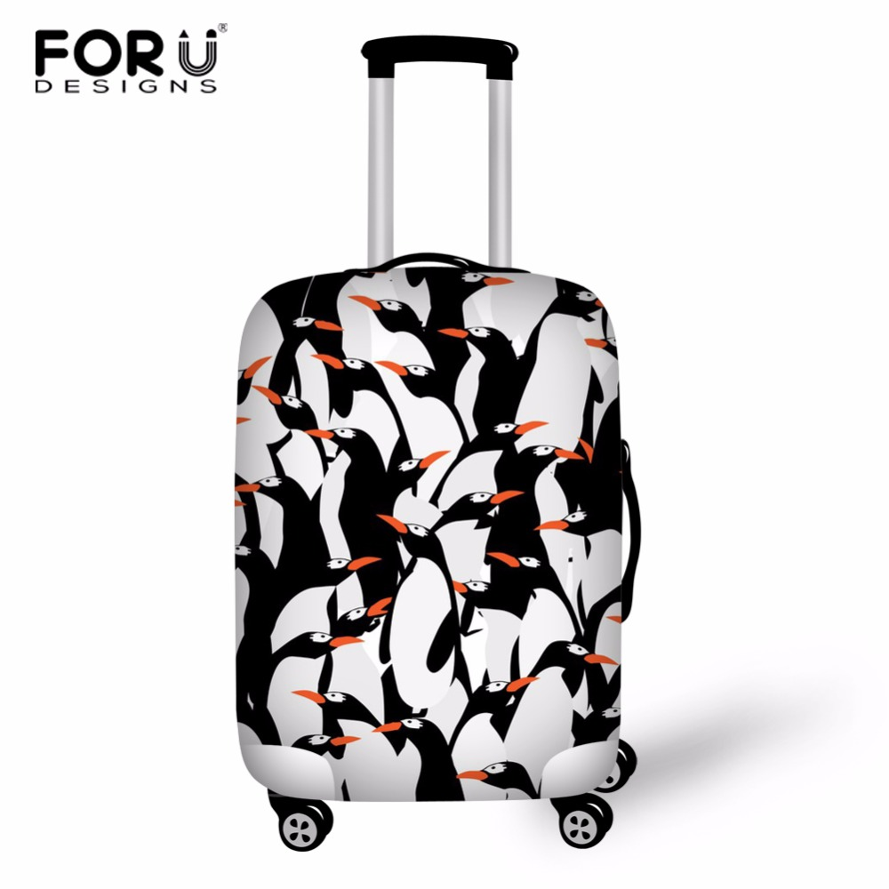 FORUDESIGNS Penguin Travel Accessories Luggage Cover Suitcase Protection Cover Baggage Dust Cover Trunk Trolley Case Elasticity