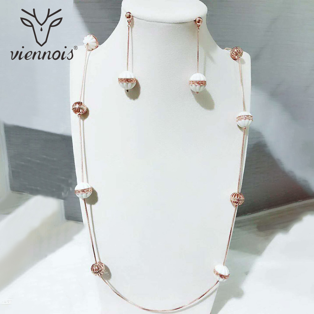 Viennois New Silver Rose Cold Color Round Shell Earring Set Dubai Gold Jewelry Sets For Women Trendy Style Female Party rose gold color shell round simulated pearl element rhinestones micro setting luxury lady jewelry set necklace earring wholesale