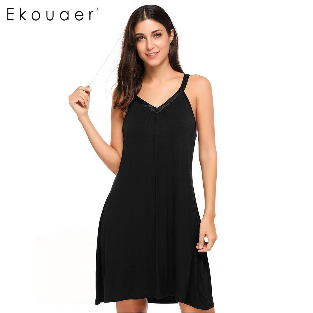 Ekouaer Sexy Nightgown Sleepshirts Women V-Neck Sleeveless Satin Trim Chemise Sleepwear Dress Female Nightdress