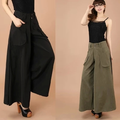 1Pcs Women   Pants   Falda Pantalon 2019 New Brand Design   Wide     Leg     Pants   S--8XL Larger Size Thin Women Trousers Cotton