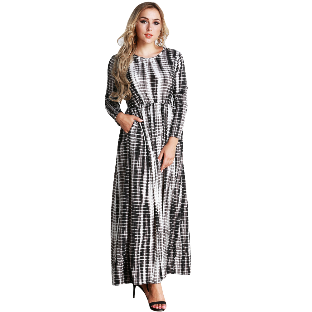 2018 Autumn Women Plus Size Dress Stripe Printed Big Size O Neck Ankle Length  Long Maxi Dress Black New Fashion Clothes 5XL 6XL-in Dresses from Women s  ... a0d673b07012