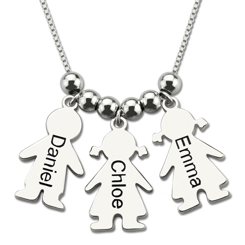 Women's Custom Name Necklace Silver Chain Engraved Kids Charms Necklaces Costume Girl Boy Charm Choker To Mom Stranger Things women custom name necklace silver gold engraved kid charms necklaces costume girl boy charm choker gift for mom stranger things