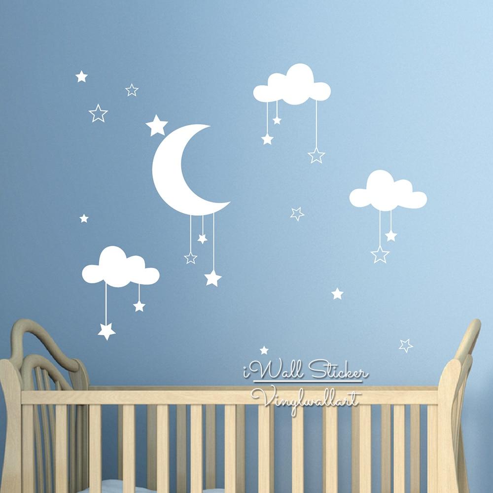 Baby Nursery Clouds Stars Wall Sticker Moon Clouds Wall Decal Kids Room Decor Easy Wall Art Children Cut Vinyl N32