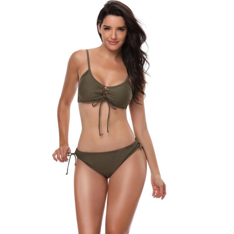 2018 Design Sexy Women Bikini Bandage Swimwear Bandeau Push-Up Padded Bra Swimsuit Low-waisted Beachwear Army Green