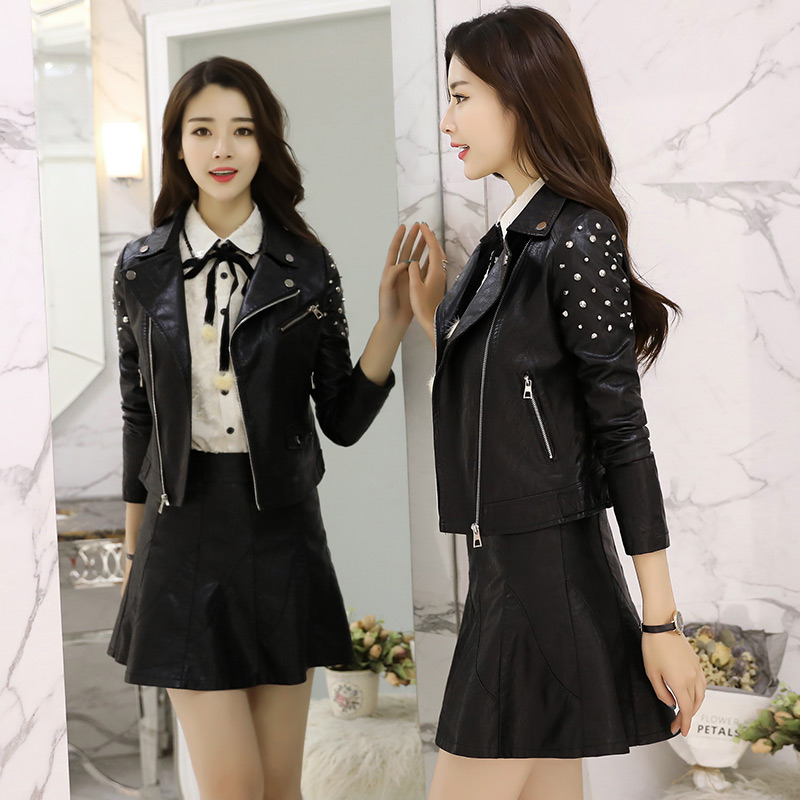 f5463c21d YASUGUOJI new 2018 autumn punk style fashion pu leather skirt suit women  rivet short jacket with mini skirt suit set QXF6-in Skirt Suits from  Women's ...