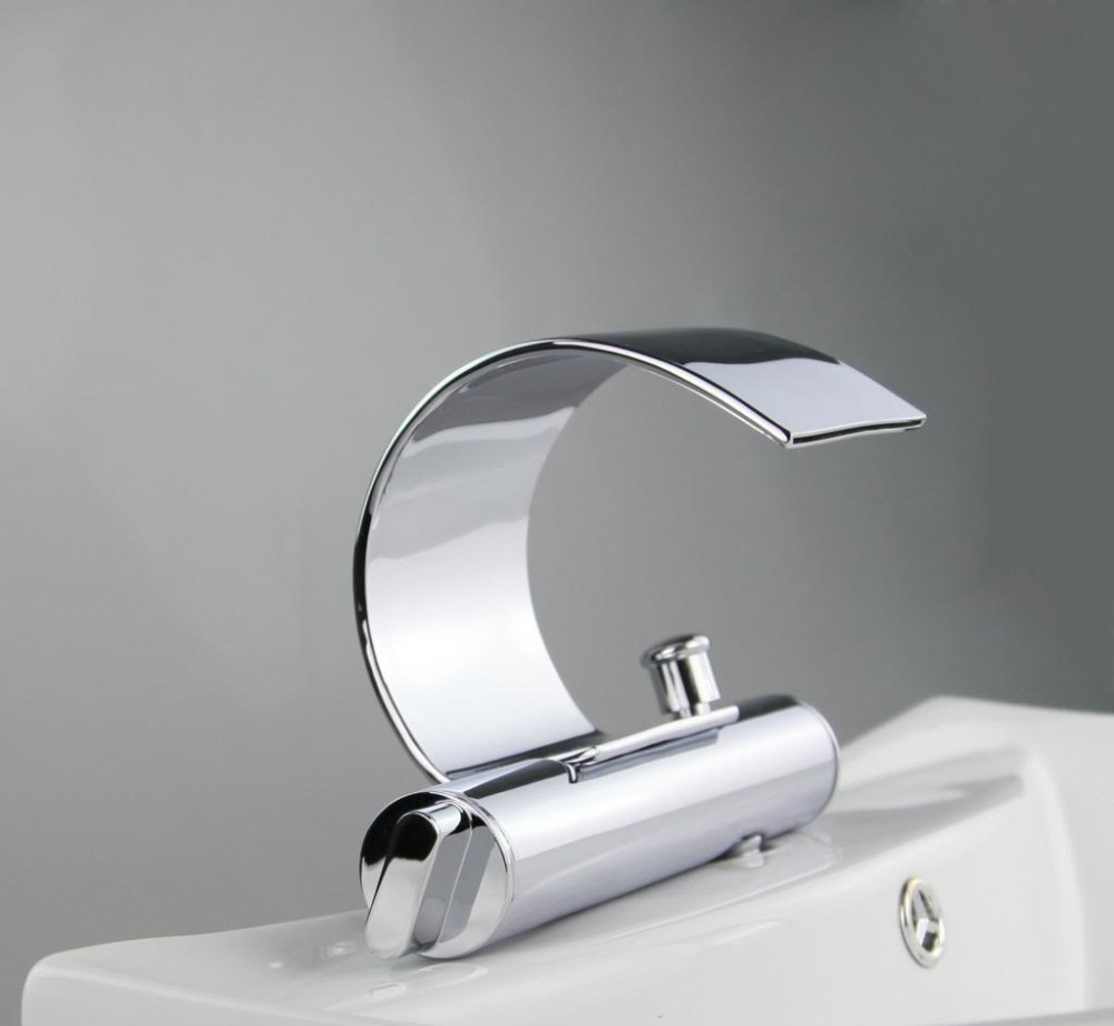 Ouboni Bathroom Waterfall Chrome Double Handles Brass