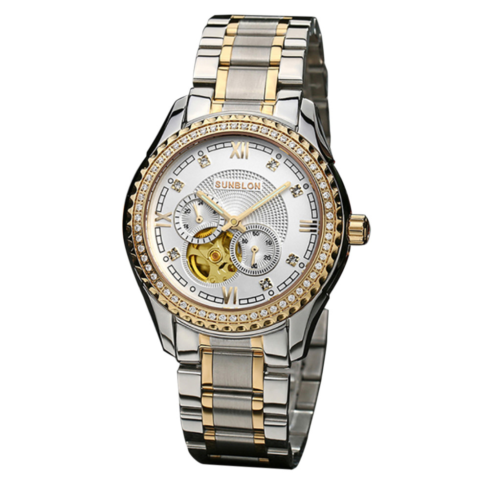 2018 New Fashion Men's Retro Stainless Steel Mechanical Skeleton Daily Watch Golden Movement Gifts relogios F80 new style sunblon s505b stainless steel mechanical skeleton watch golden movement 915