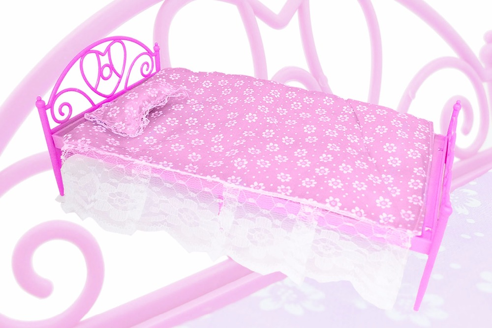 Mini Cute Pink Dolls Plastic Bed With Pillow Bedsheet Dollhouse Furniture Accessories For Barbie Doll Play House Girl Gift ...