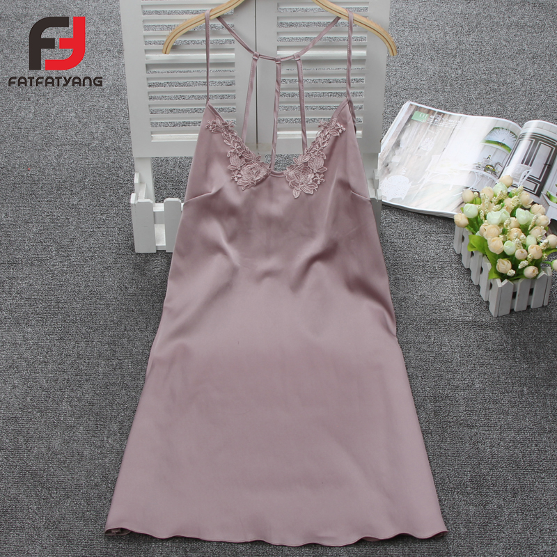 Silk Lace Women Sleeveless Sleepwear Ladies Sexy Deep-V Lingerie Sleepdress Babydoll Nightdress   Nightgown     Sleepshirts   Homewear