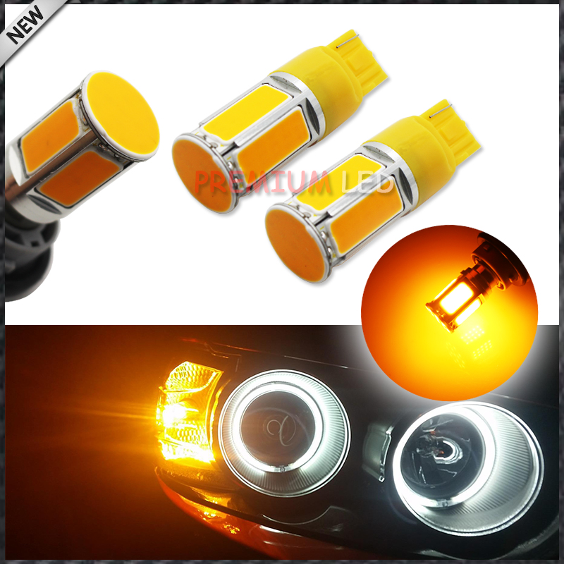 (2) No Resistor Need Amber Yellow 240-emitter COB LED 7440 T20 LED Bulbs For Front or Rear Turn Signal Lights (No Hyper Flash) 2 no resistor no hyper flash 21w high power amber bau15s 7507 py21w 1156py led bulbs for car front or rear turn signal lights