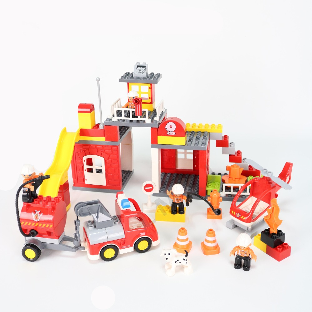 90PCS City Fire Department Firemen Truck Building Blocks Educational Toys For Children Compatible Duploed Baby Kids Gift