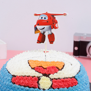 Image 4 - 1PCS/PACK Baby Shower Party Happy Birthday Cake Toppers Super Wings Theme Kids Favors Cupcake Decoration Flag Events Supplies