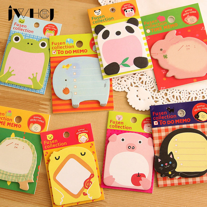 4 stks / partij kawaii Cartoon dier memo pad papier plaknotities post - Notitieblokken en schrijfblokken bedrukken