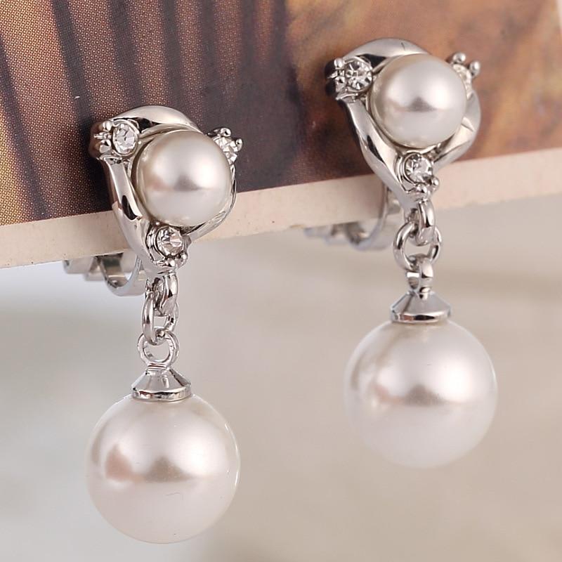 Pendientes de gota de agua con perlas y diamantes de imitación para mujer, aretes no perforados, joyería de boda