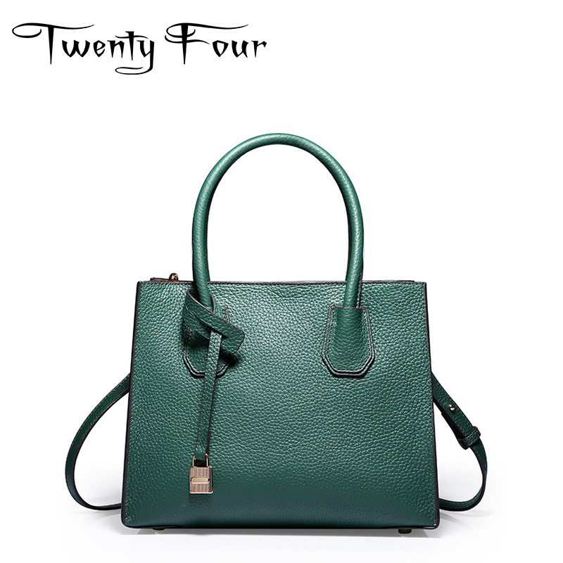Twenty-four Women Luxury Brand Casual Tote Bags Genuine Leather Lady Handbags Fashion Solid Cross Body Lock Large-capacity Bags twenty four women brand flap bags natural genuine leather handbags with chain solid color cover small bags young cross body bags