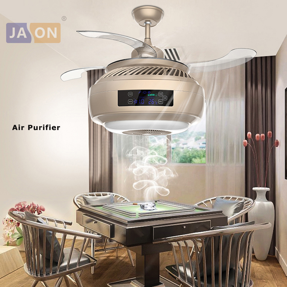 LED Modern Alloy Acryl ABS Gold Silver Air Purifier Ceiling Fan.LED Lamp.LED Light.Ceiling Lights.LED Ceiling Light.For Foyer