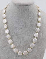 Freshwater Pearl Necklace White Coin 13 14mm 18inch Nature Wholesale Beads FPPJ Fashion Gift