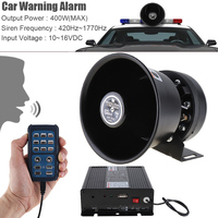 New 12V 400W 18 Tone Loud Car Warning Alarm Police Emergency Siren Horn Speaker with MIC System & Wireless Remote Control
