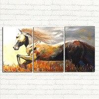 תמונות אמנות ממוסגר 3 יחידות באיכות גבוהה סוס ריצה גדול מודרני בית וול דקור תקציר בד צבוע ציור שמן