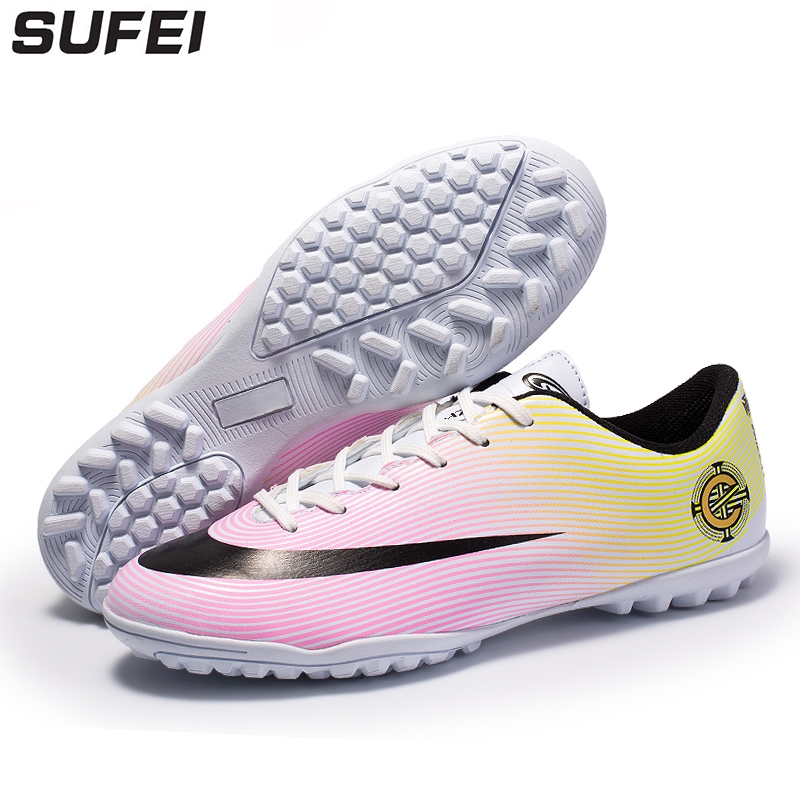 sufei Soccer Shoes Superfly Football Boots Turf Sole Athletic Outdoor Training Cleats Futsal Chuteira Futebol цена
