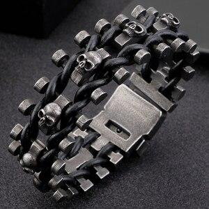 Image 3 - Retro Schedel Man Armband Mannelijke Hiphop Rock Heren Lederen Wrap Armbanden & Bangles Zware Effen Rvs Biker Sieraden Mannen