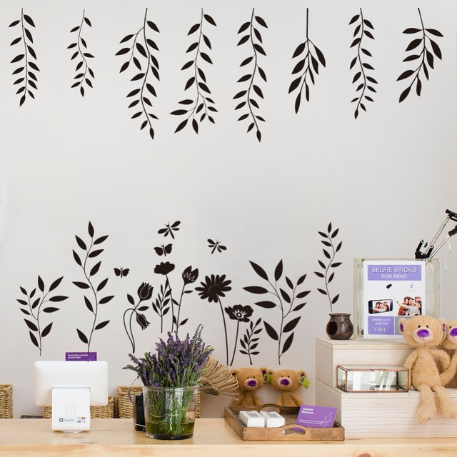225cm 50cm carved vinyl wall stickers tree leaf butterfly for Donde se venden vinilos decorativos