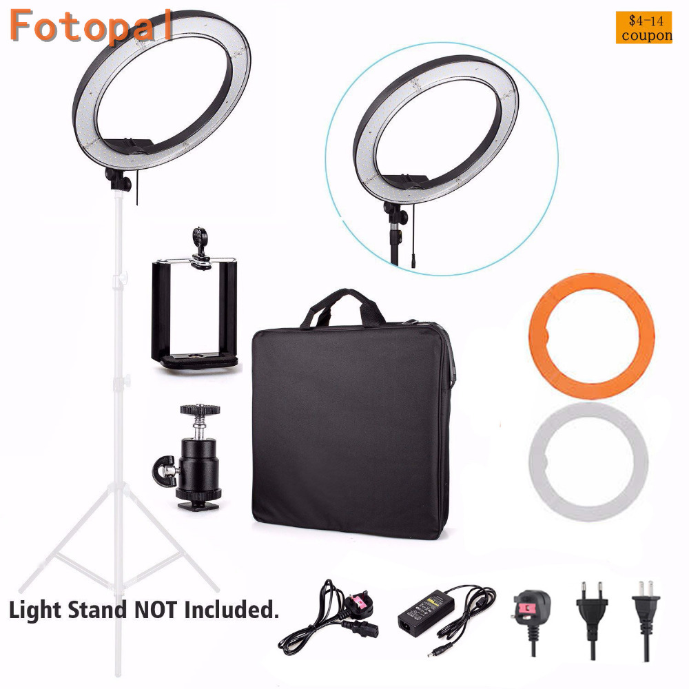 Fotopal 18 LED Photography Video Studio Ring Light Annular Lamp 5500K Dimmable Diital LED Photo Phone Camera Light For Youtube 1pc 150w 220v 5500k e27 photo studio bulb video light photography daylight lamp for digital camera photography
