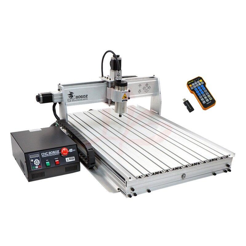 3 axes métal CNC machine de gravure 8060 bois routeur 1.5KW broche PCB forage avec fin de course 6080