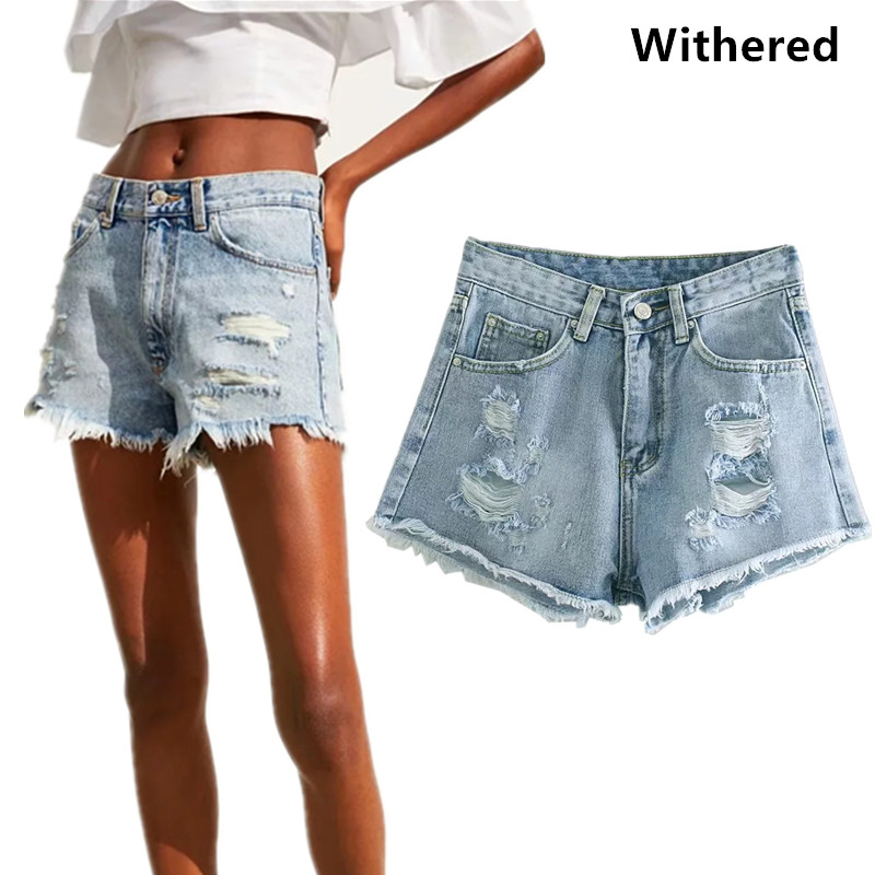 Withered 2019 Shorts Women Harajuku Tassel High Waist Hole Denim Short Faldas Mujer Moda Shorts Womens 0611