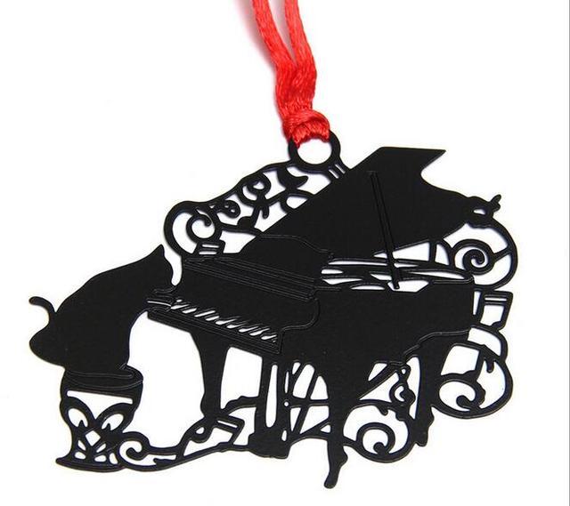 25 Stks Rvs Zwarte Piano Kat Bladwijzer Boek Kaart Bruiloft Baby