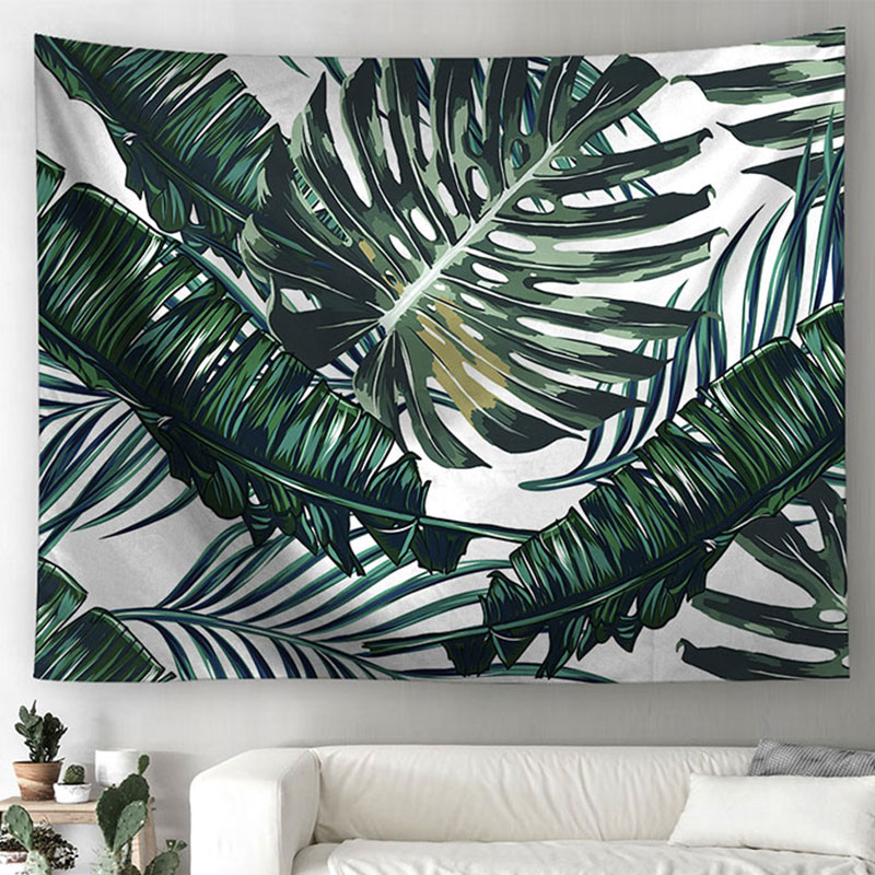 Polyester Tropical Plant Pattern Wall Cloth Hanging Tapestry Wedding Party Bedspread Beach Towel Mandala Yoga Picnic Mat
