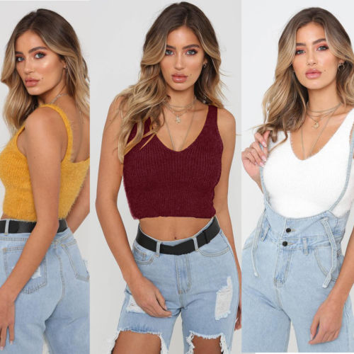 New Women Sleeveless Sweater 2018 New Casual Solid Crochet Tank Crop Tops Vest V-Neck Cotton Thin Sweater Shirt
