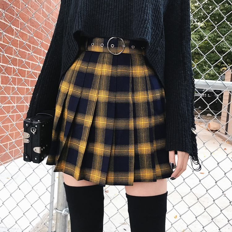 Short Skirt Spring Harajuku Punk-Style Female Black Red Yellow High-Waist Women Summer