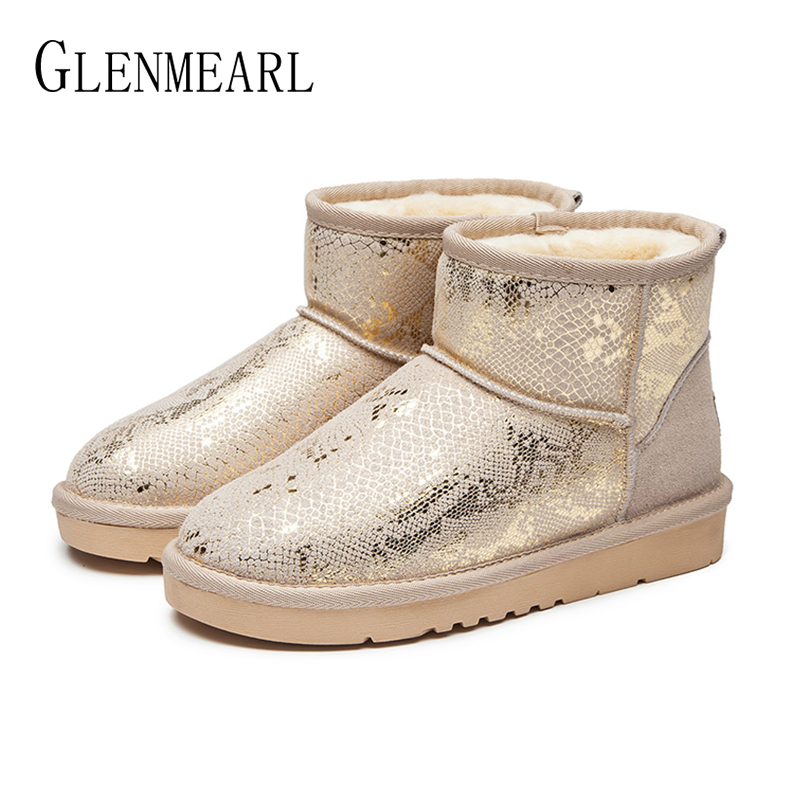 Genuine Leather Women Snow Boots Winter Shoes Warm Platform Slip On Ankle Boots Woman Casual Shoes Gold Black Ladies Winter Boot winter snow boots woman platform ankle boot warm cotton down shoes women s winter snow boots female winte boots