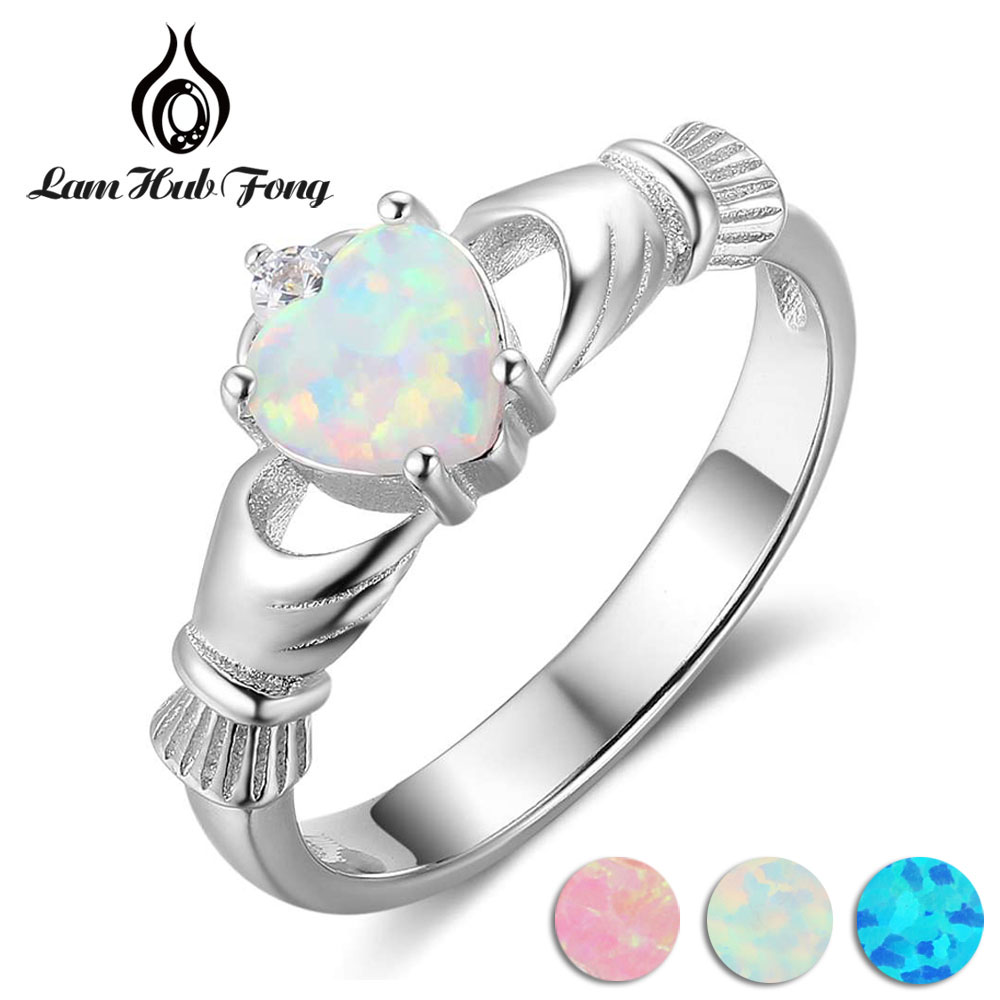 925 Sterling Silver Claddagh Rings For Women Heart Shape Pink Blue White Opal Ring Wedding Engagement Jewelry Gift(Lam Hub Fong)