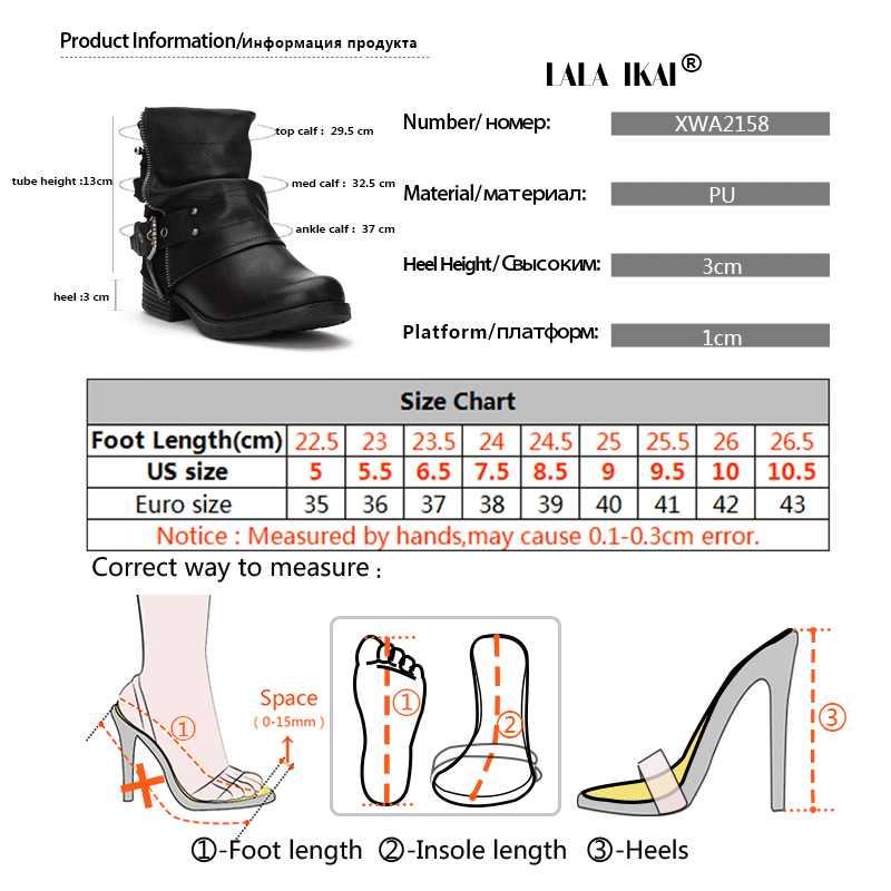 LALA IKAI Kadın PU Deri Fermuar yarım çizmeler Toka Patchwork Süet Peluş Med Topuk Batı Çizme Boncuk Kadın Ayakkabı 100A2158- 49