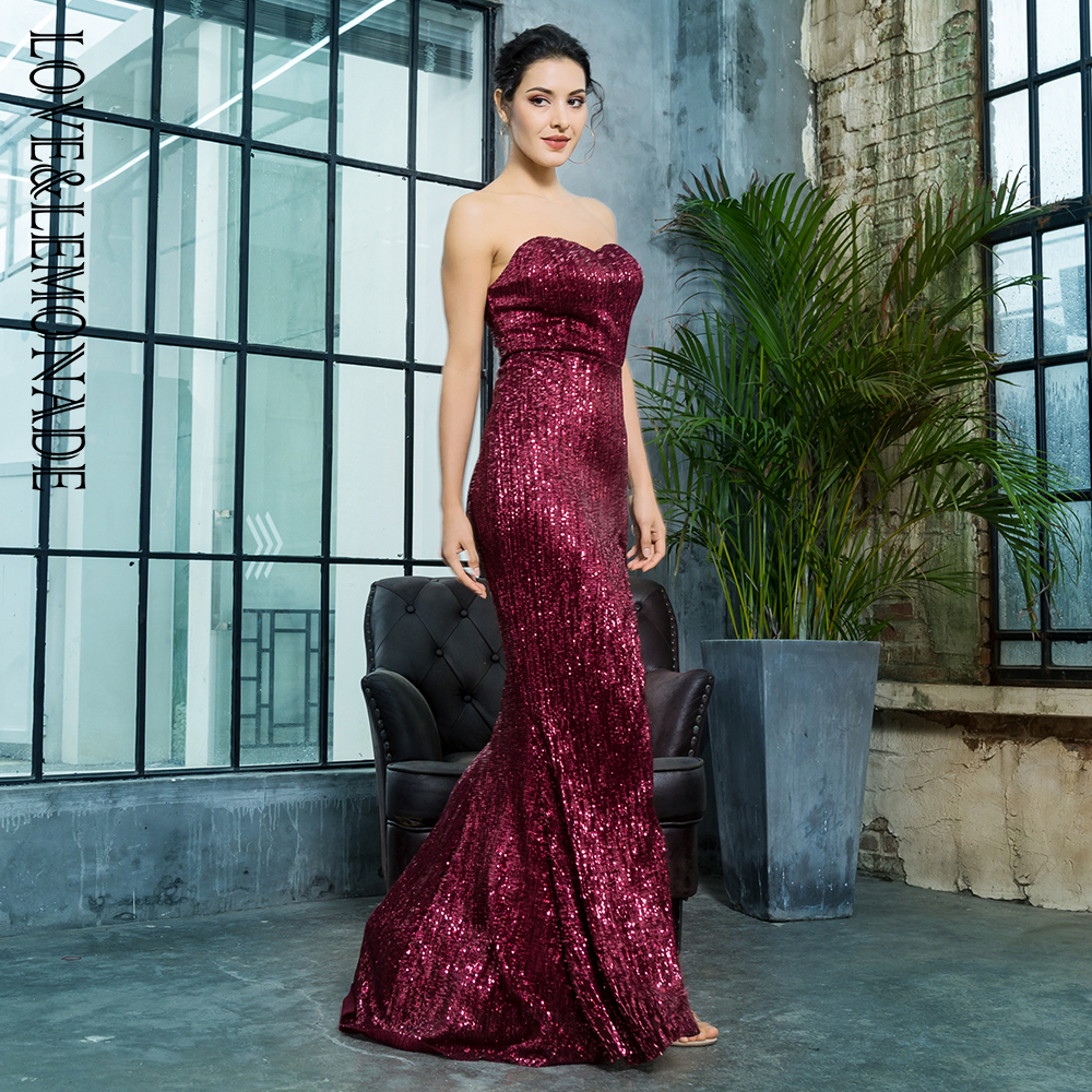 Amor y limonada vino rojo corte en forma de pez elástica lentejuelas  Material vestido largo LM81142 en Vestidos de La ropa de las mujeres en  AliExpress.com ... bfb1865f260a