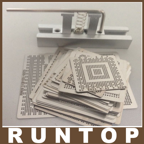 for Laptop Intel Chip 50 pcs /set  Bga Reballing Stencil Tample Kit with Free Universal Reball Station 90mm reballing bga stencil kit for laptop nvidia chip gameconsole 34 pcs stencil 9 free gifts
