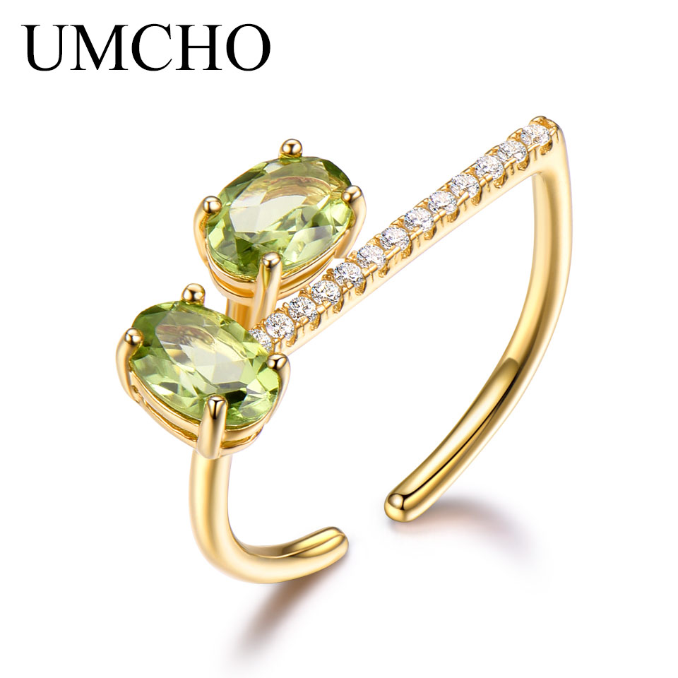 UMCHO Natural Peridot Solid 925 Sterling Silver Ring Colorful Gemstones Elegant Engagement Wedding Romantic Gift Fine Jewelry