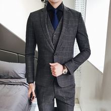 все цены на Classic Plaid 3 Pieces Suit Vest Mens Suits With Pants Slim Fit Suits for Weddings Suits Tuxedo Formal Dress Terno Masculino Men онлайн