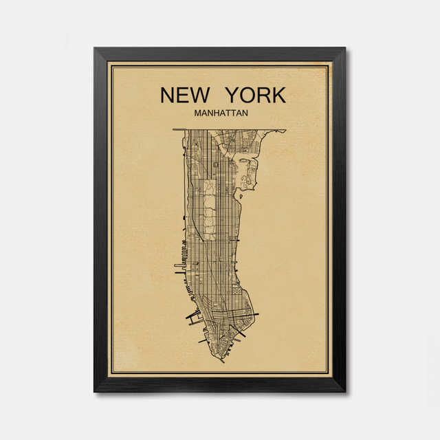 Vintage World City map retro Kraft Paper Poster Wall Art Crafts ...