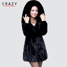 Winter 2018 Plus Size xxxl 4xl 5XL 6XL Women Artificial Fake Fur Coat With Hood Black Patchwork Faux Rabbit Fur Coats