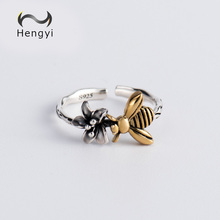 hot deal buy hengyi animal bee flower real 925 sterling silver resizable finger ring for women cute romantic party 925 silver jewelry