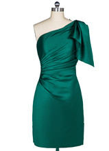 100% echt Bild Kurze Formale Cocktailkleider Satin Eine Schulter Satin 2016 vestidos madre de la novia vestido de madrinha