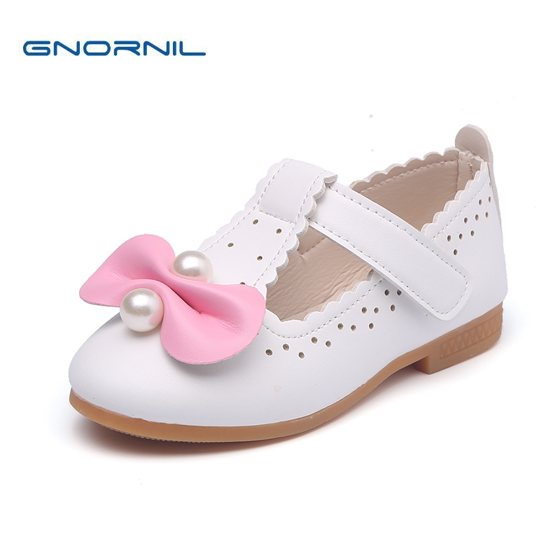 2018 Spring Autumn Children Shoes Girls Shoes Lovely Bowknot Leather Princess Flat Fashion Pearl Soft Sole Kids Sandals
