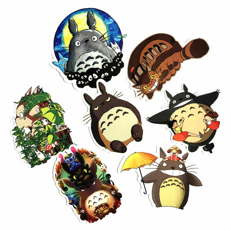 7 unids/set Japón Anime mi vecino Totoro PVC pegatinas impermeables niños Juguetes Decoración Bloc de notas teléfono bicicleta coche guitarra monopatín