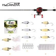 TSURINOYA Fishing Rod Combo With Rod Reel Line Bait 1.89m UL Rod XF-50 Casting Reel 100m PE line Spoon Baits Fishing Field combo