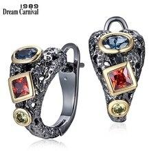 DreamCarnival 1989 Серьги кольца женские винтажные с красочным квадратным круглым цирконием, модная нео готика  WE3794